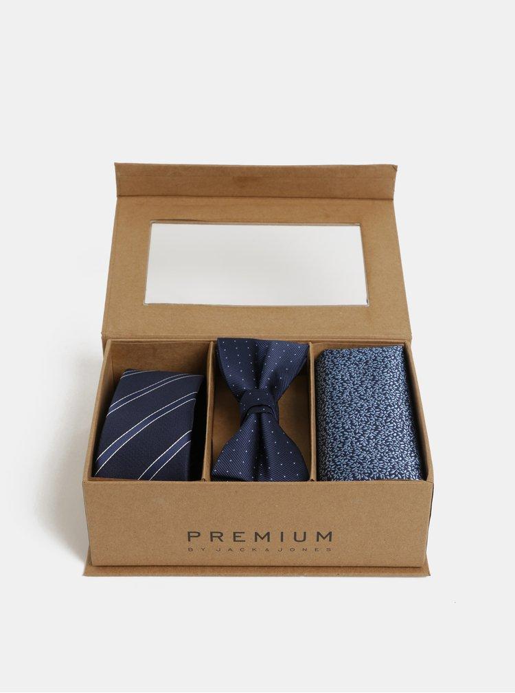 Darčeková kolekcia slim kravaty, motýlika a vreckovky v tmavomodrej farbe Jack & Jones Necktie