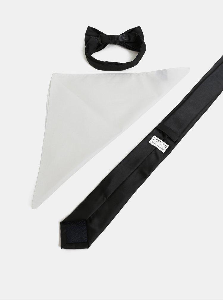 Darčeková kolekcia slim kravaty, motýlika a vreckovky v čiernej a bielej farbe Jack & Jones Necktie