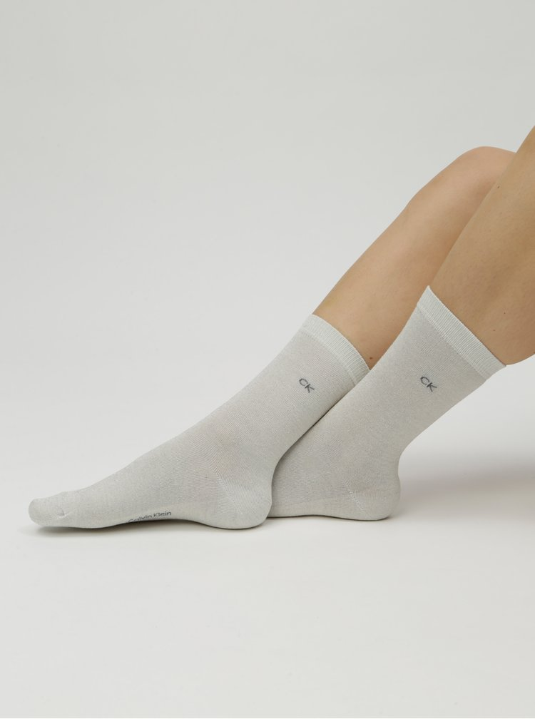 Sada čtyř párů dámských žíhaných ponožek v šedé, růžové a černé barvě Calvin Klein Jeans