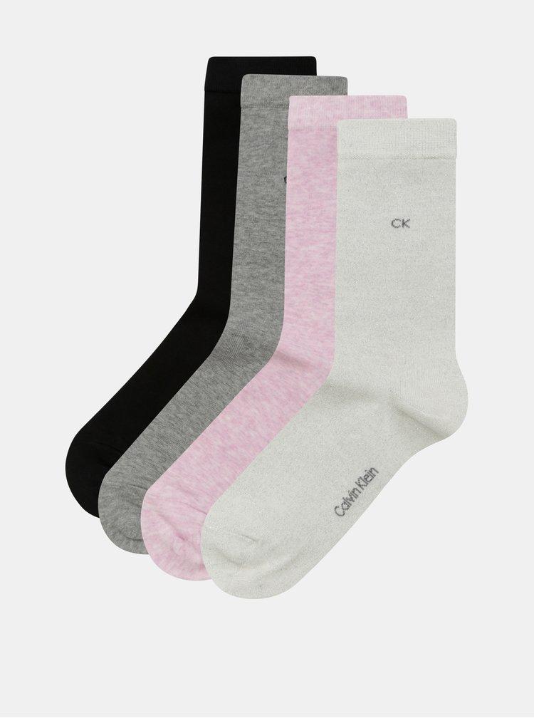 Balenie štyroch párov dámskych melírovaných ponožiek v sivej, ružovej a čiernej farbe Calvin Klein Jeans