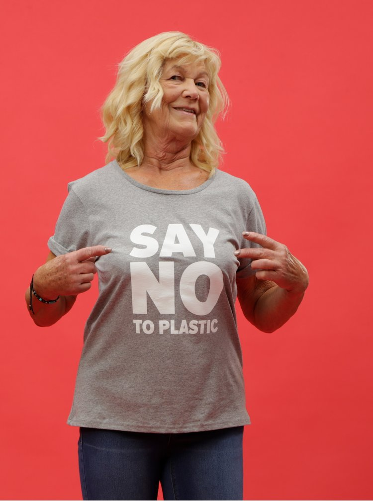 Sivé dámske melírované tričko s potlačou ZOOT Original Say no to plastic