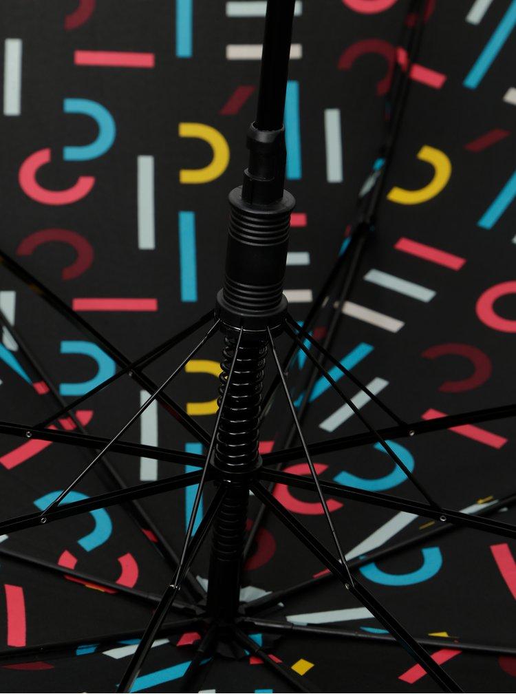 Čierny vzorovaný vystreľovací dáždnik Esprit Long AC Letterjam