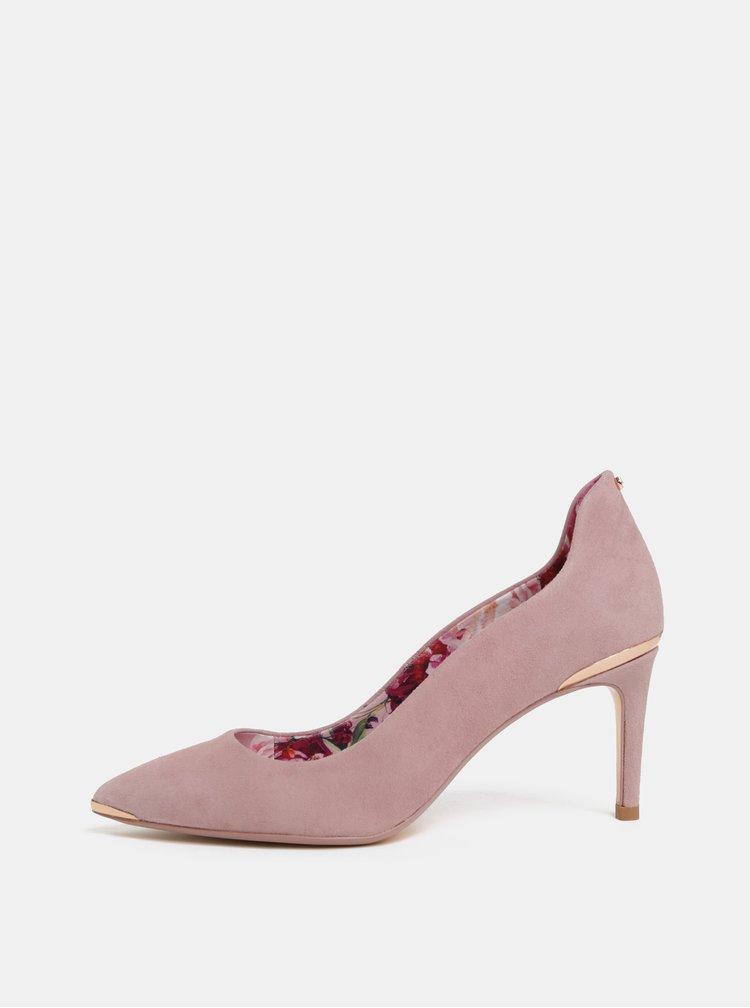 Pantofi roz deschis din piele intoarsa Ted Baker