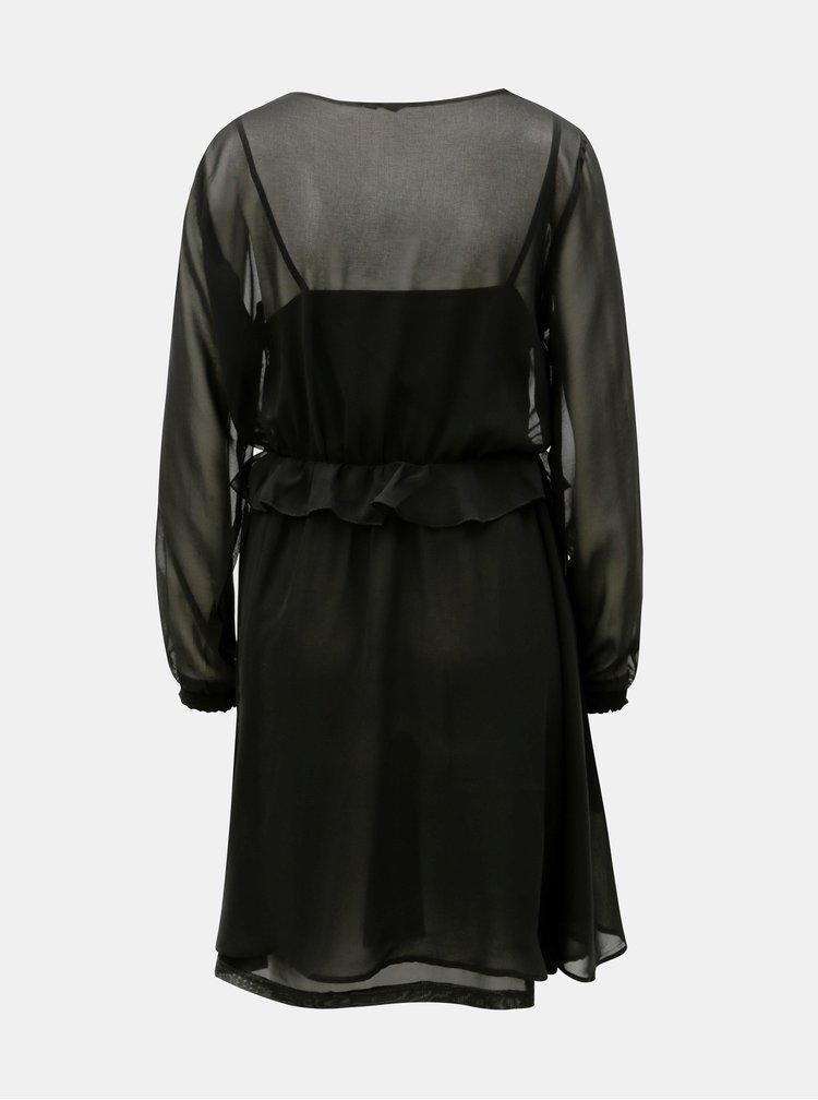 Rochie neagra cu volane si banda elastica in talie VERO MODA Becca