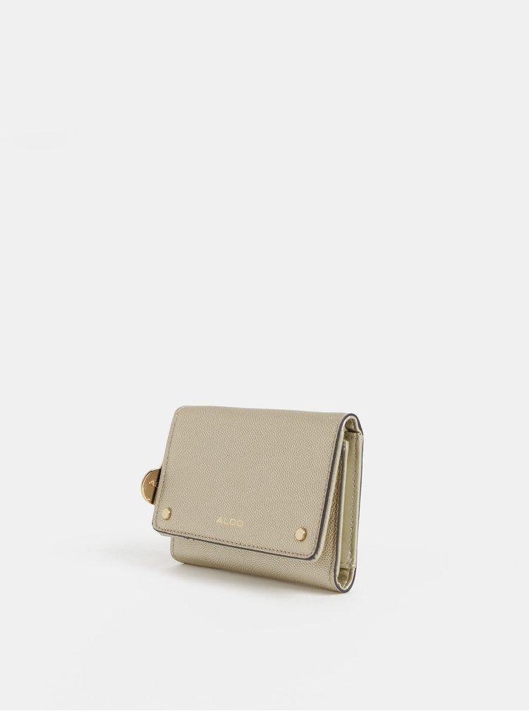 Portofel de dama auriu din piele sintetica de dimensiuni reduse ALDO