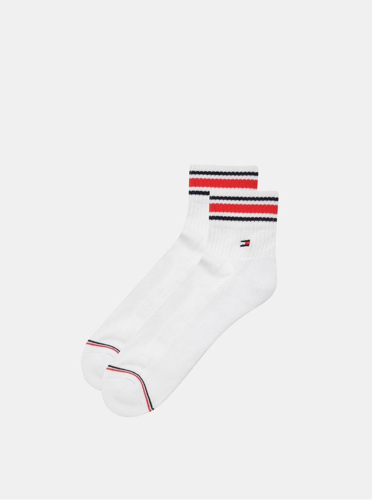 Sada dvou párů pánských kotníkových ponožek v bílé barvě s pruhy Tommy Hilfiger