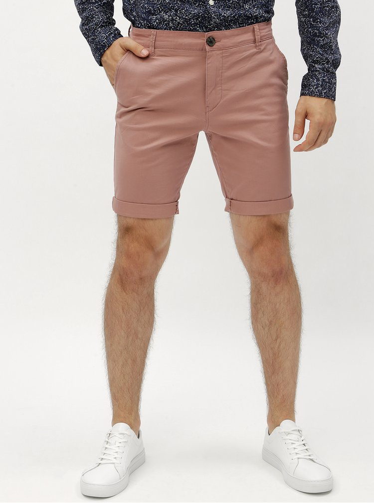 Růžové chino kraťasy Selected Homme Paris