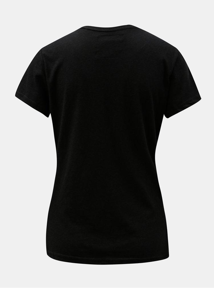 Tricou de dama negru cu imprimeu Superdry