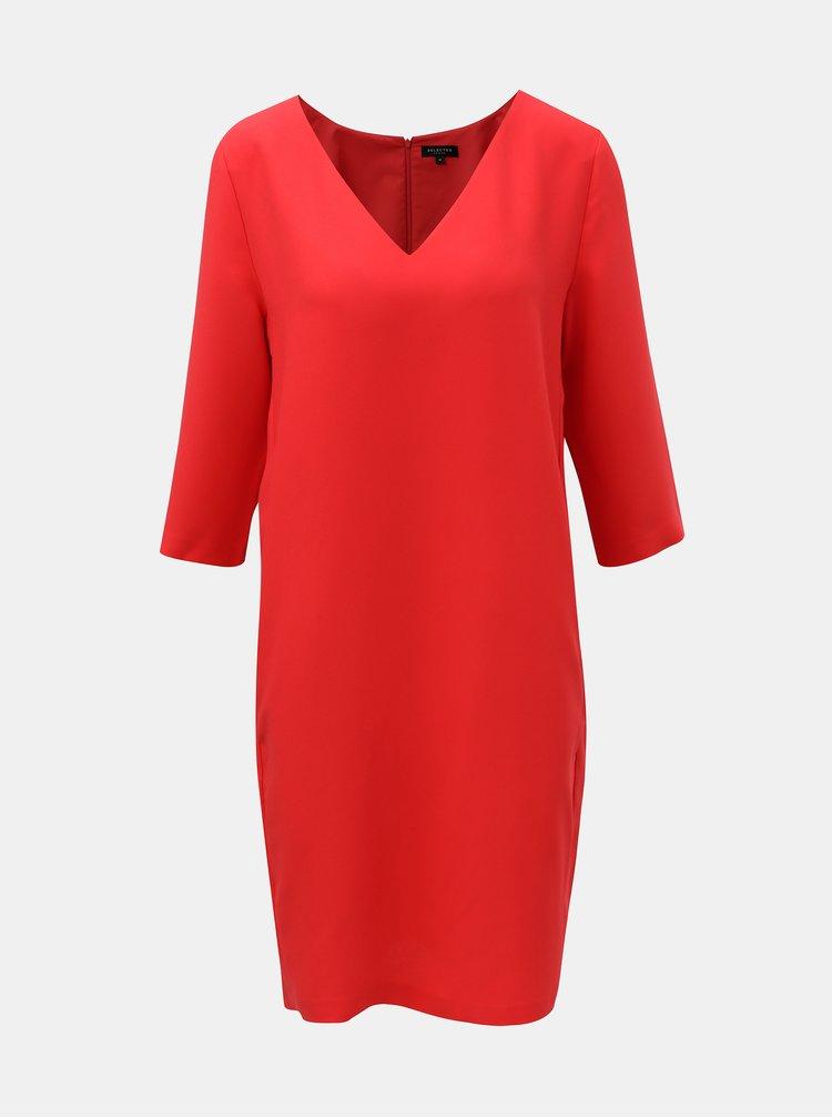 Červené šaty s 3/4 rukávem Selected Femme Tunni