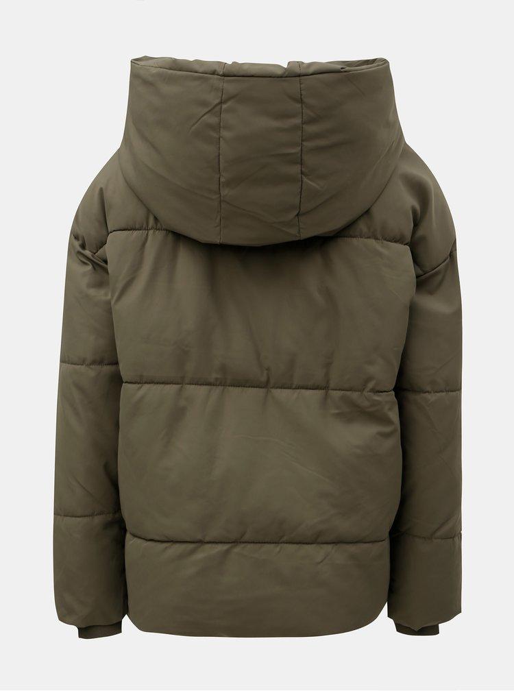 Zelená prošívaná bunda s kapucí Noisy May