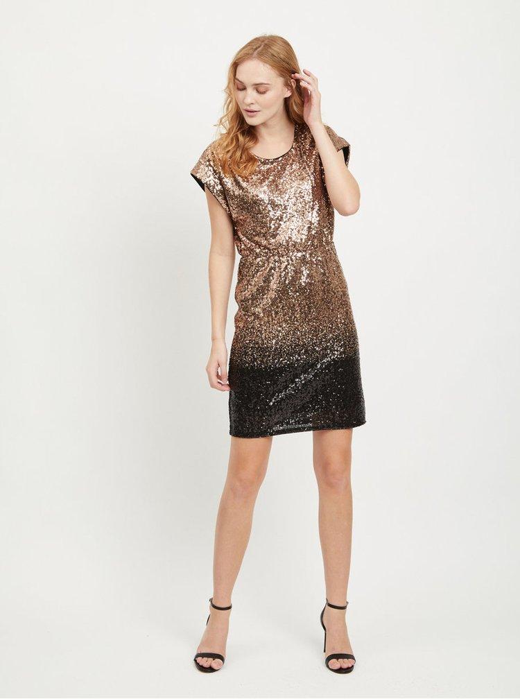 Šaty s flitrami v čierno–zlatej farbe VILA Elvia
