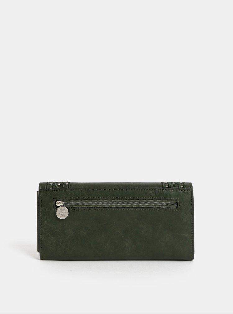 Tmavě zelená velká peněženka s detaily ve stříbrné barvě Gionni Clover