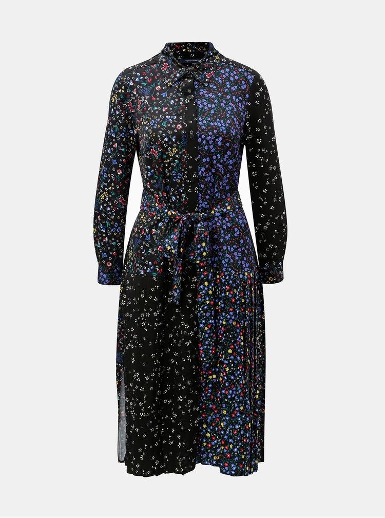 Rochie tunica albastru-negru cu model French Connection