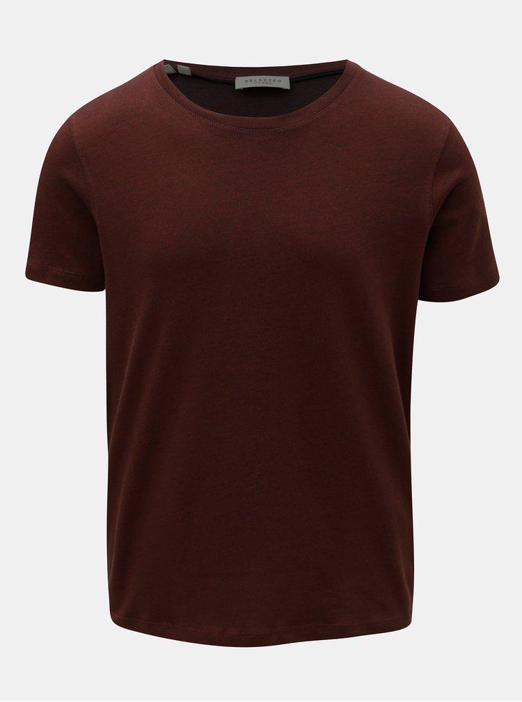 Vínové basic tričko s krátkým rukávem Selected Homme Clinton