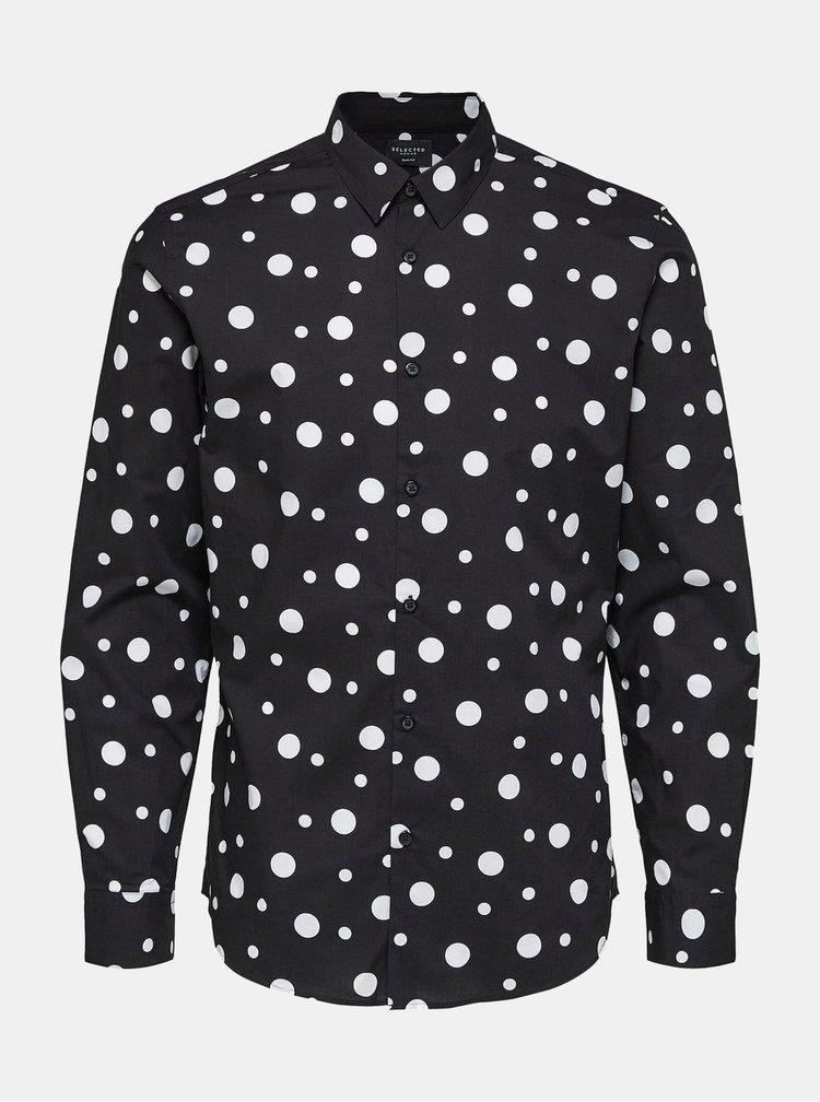 Bílo-černá vzorovaná slim fit košile Selected Homme Slimprince