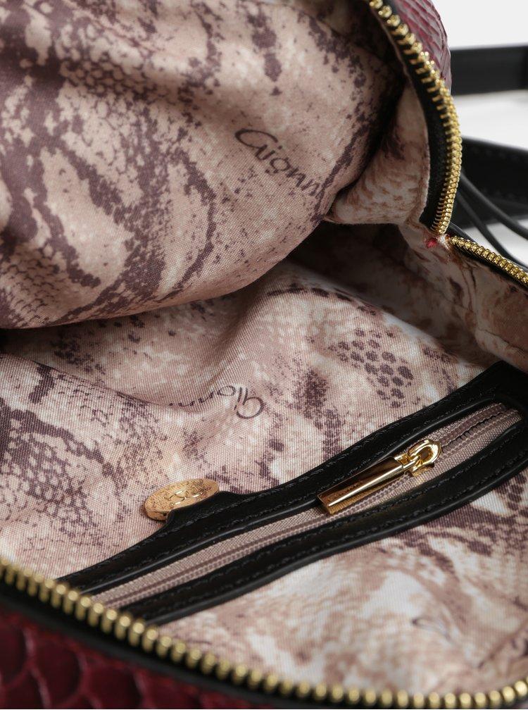 Čierno–vínový vzorovaný batoh s detailmi v zlatej farbe Gionni Jade