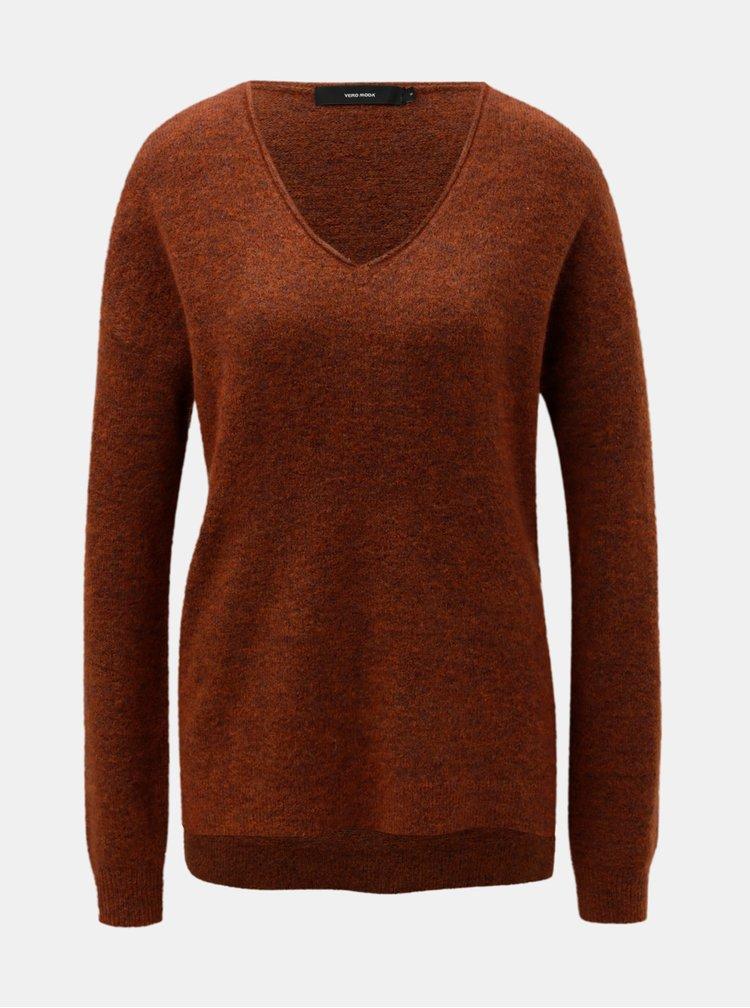 Hnědý basic svetr s příměsí vlny VERO MODA Cuddle