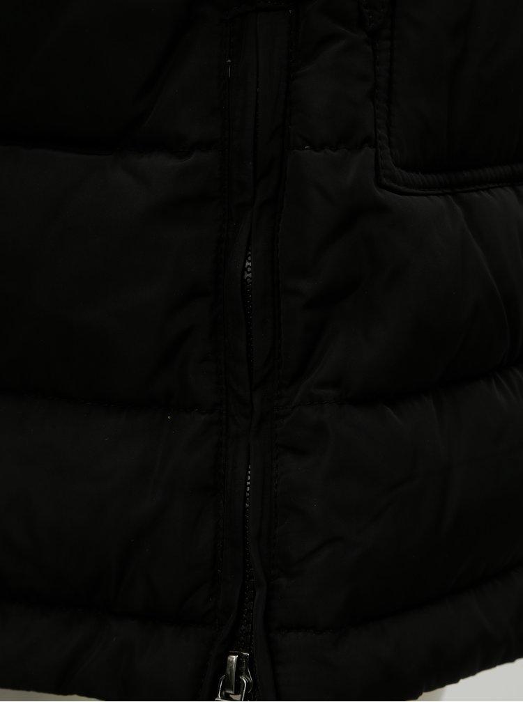 Pardesiu negru matlasat de iarna cu blana artificiala ONLY Saga