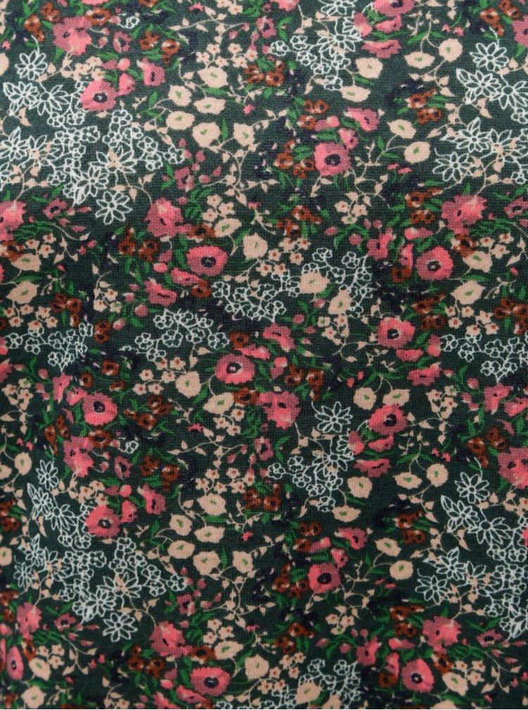 Tmavozelená kvetovaná mikina ONLY Marie