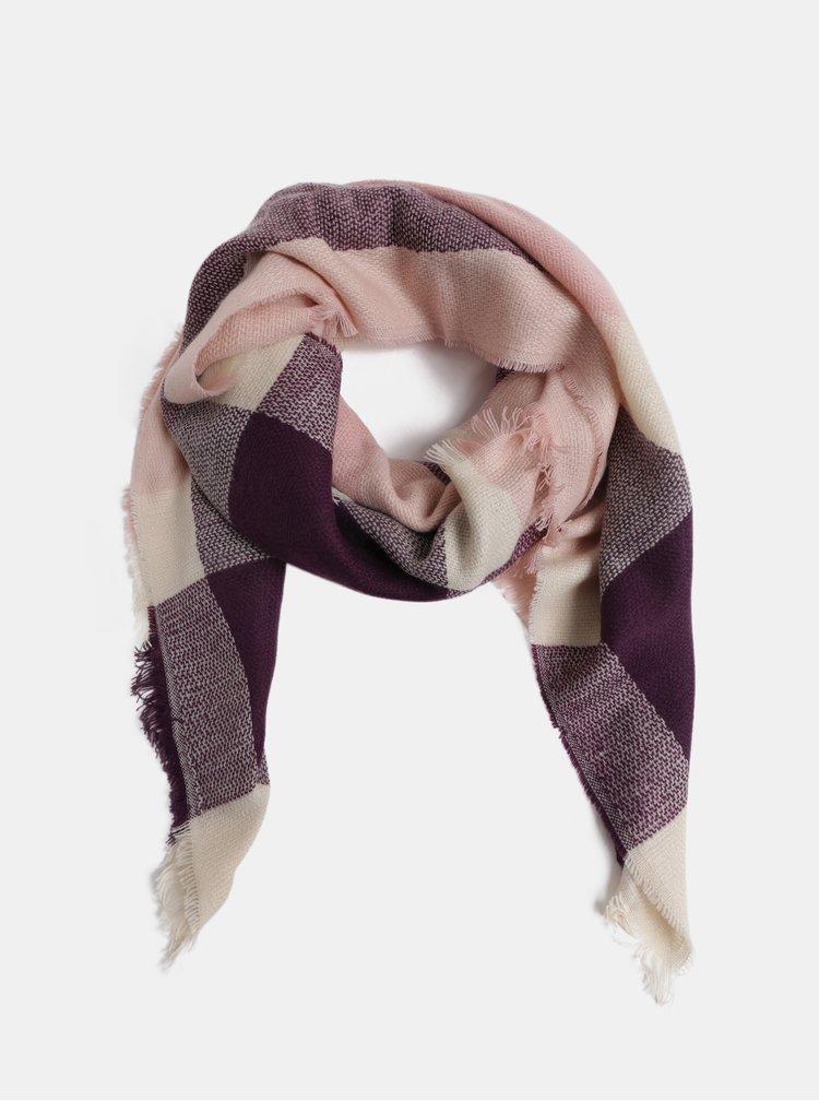 Růžovo-fialová vzorovaná šála ONLY Aldini