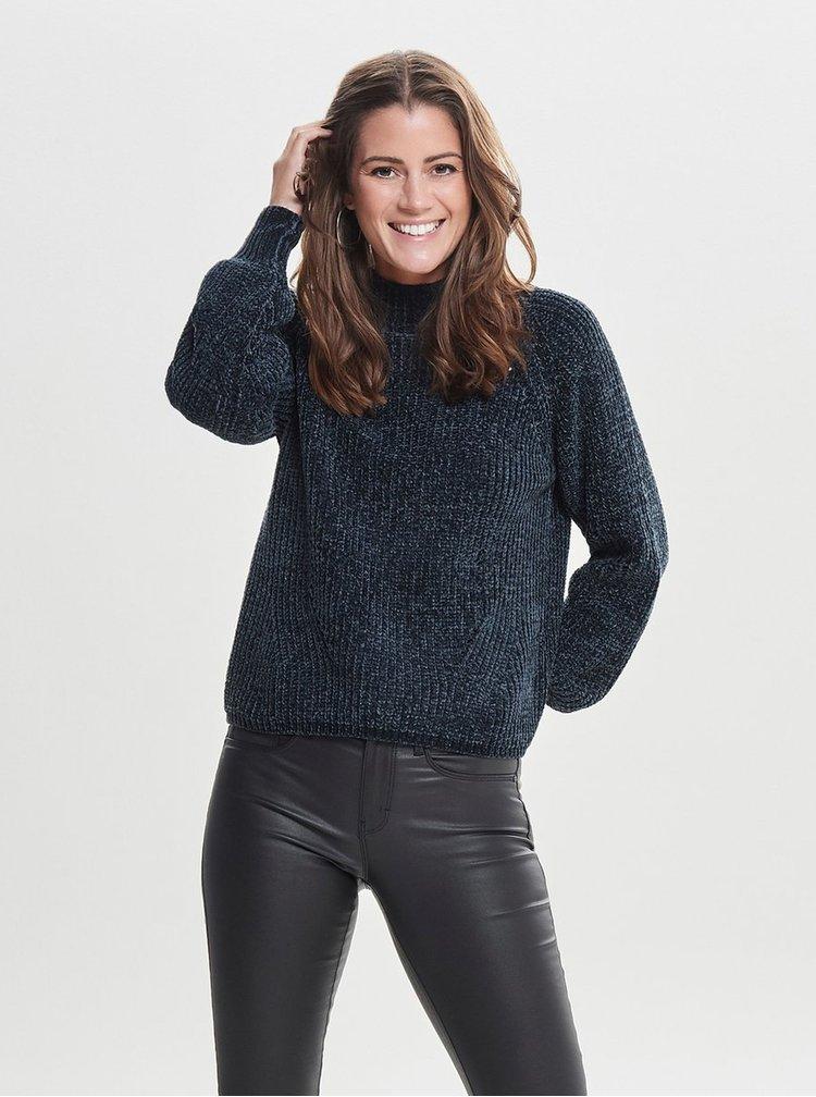 Tmavomodrý sveter so stojačikom Jacqueline de Yong Chenilla