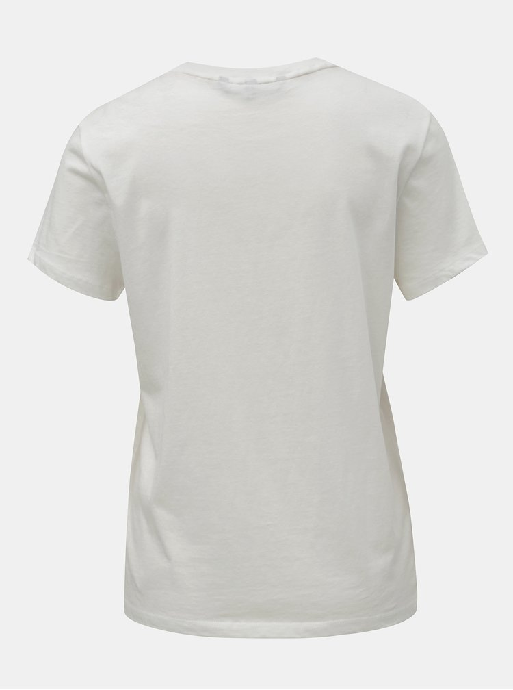 Tricou alb cu imprimeu auriu VERO MODA Fancy