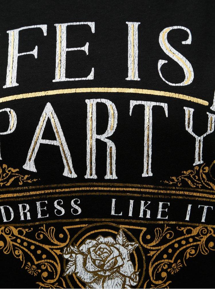 Tricou negru cu imprimeu auriu VERO MODA Fancy