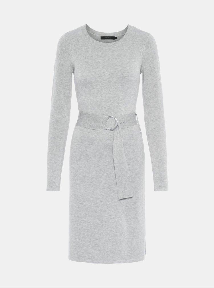 Šedé svetrové šaty s páskem VERO MODA Sidse