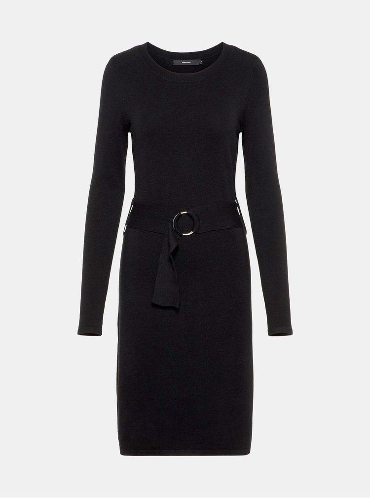 Černé svetrové šaty s páskem VERO MODA Sidse