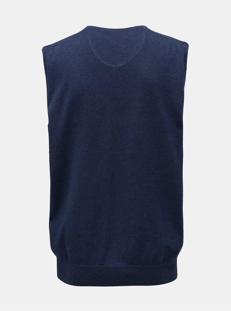 Modrá svetrová basic vesta s véčkovým výstřihem Fynch-Hatton