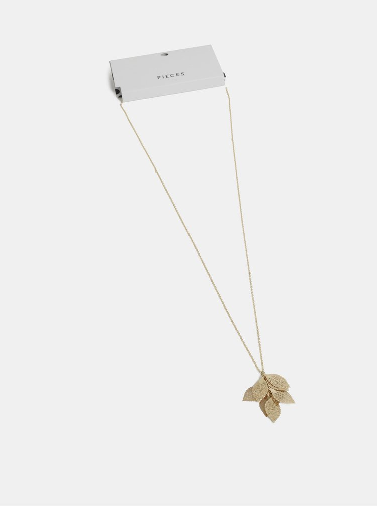 Náhrdelník ve zlaté barvě s přívěšky ve tvaru listů Pieces Kit