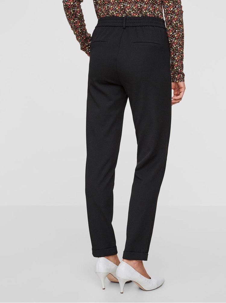 Černé kalhoty s elastickým pasem VERO MODA Maya