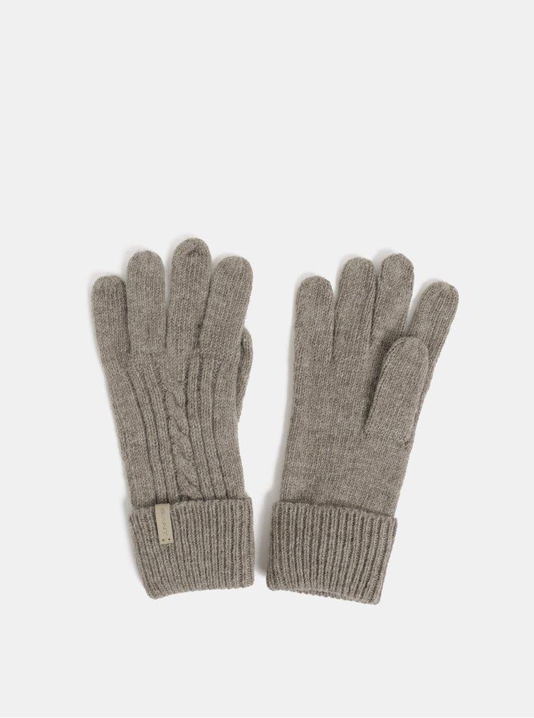Hnedé dámske rukavice s prímesou vlny GANT Cable Knit