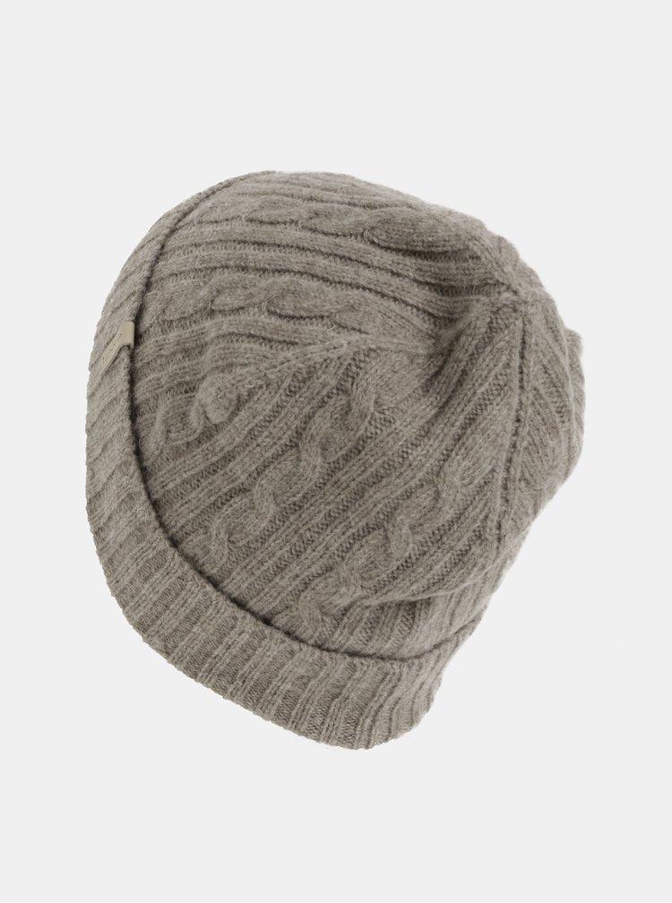 Hnedá dámska čiapka s prímesou vlny GANT Cable Knit