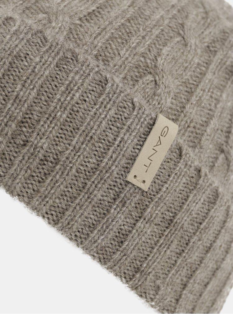 Hnědá dámská čepice s příměsí vlny GANT Cable Knit