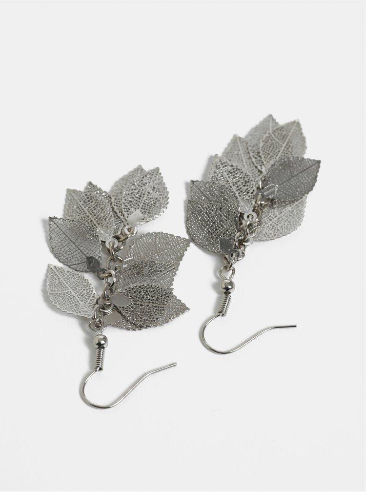 Visací náušnice ve stříbrné barvě ve tvaru listů Pieces Kit