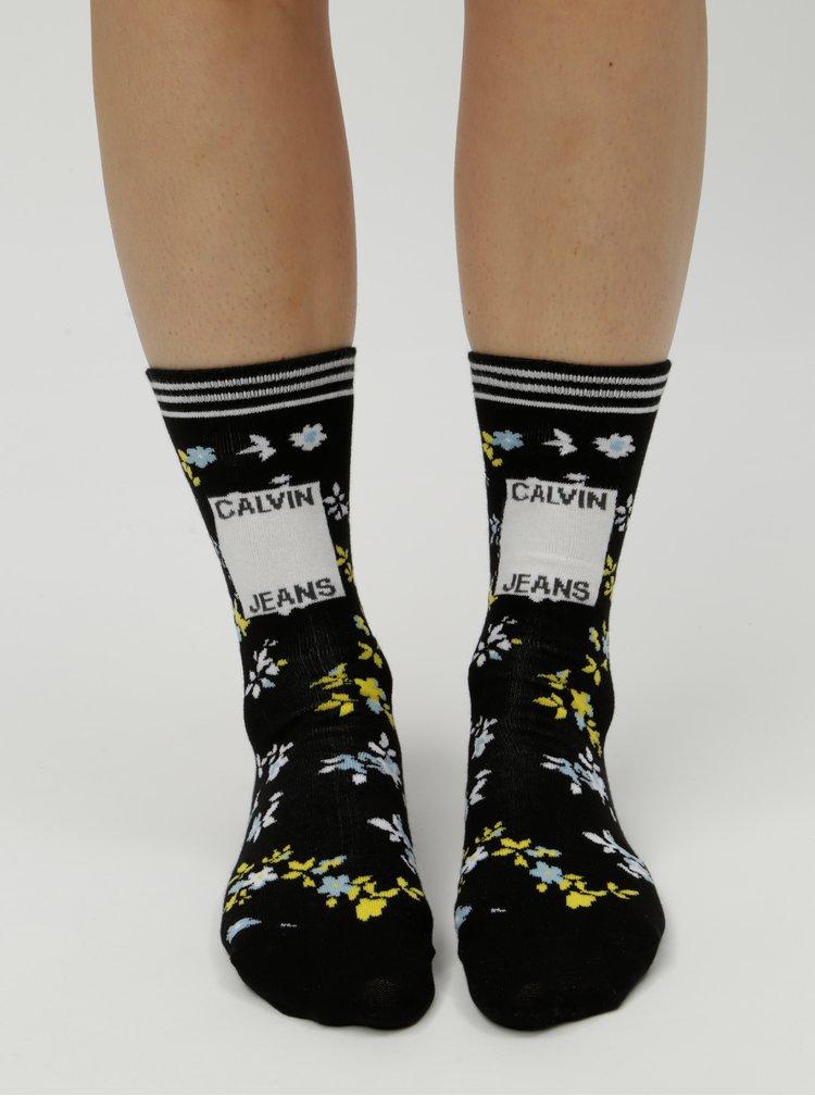 Žluto-černé dámské květované ponožky Calvin Klein Jeans