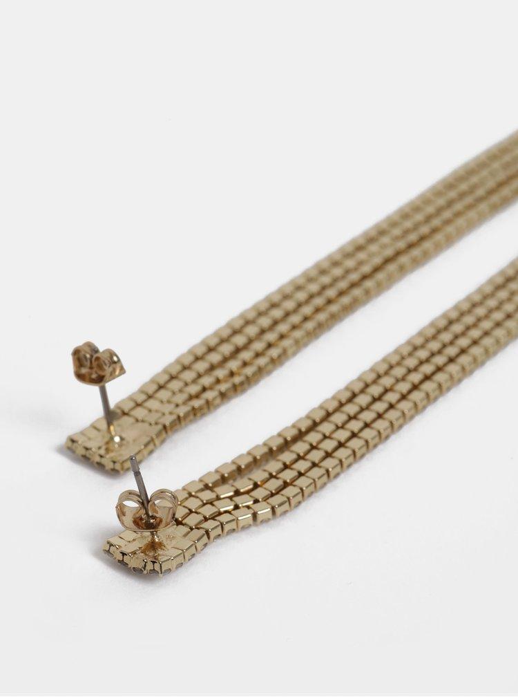 Visací náušnice ve zlaté barvě s kamínky Pieces Katarina