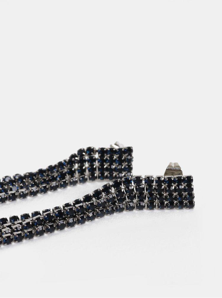 Visací náušnice ve stříbrné barvě s kamínky Pieces Katarina