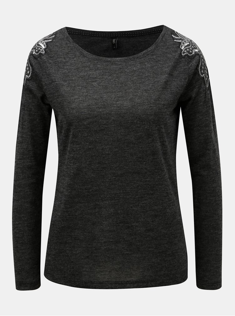 Tmavě šedé žíhané tričko s flitry na ramenou ONLY Katie