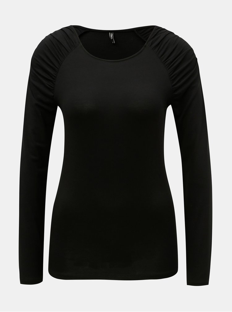 Čierne tričko s riasením na ramenách ONLY Runa