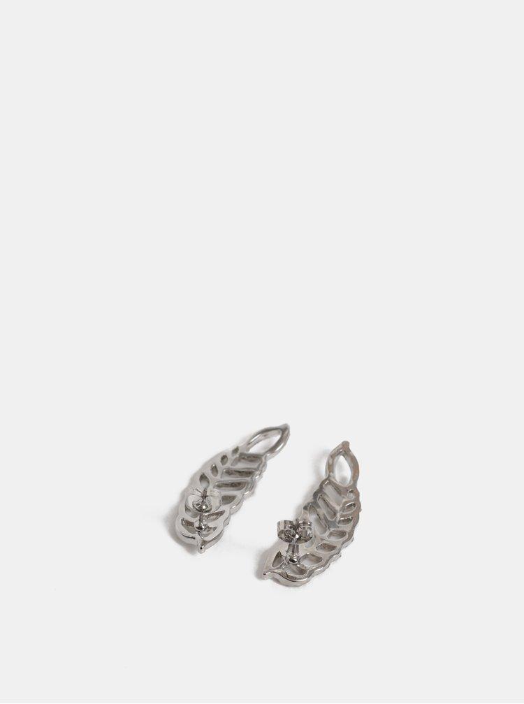 Náušnice ve stříbrné barvě ve tvaru pírek Pieces Kourtney
