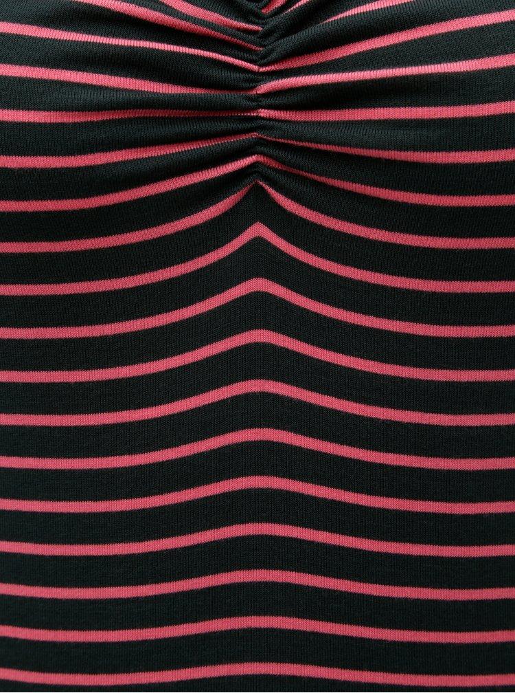 Růžovo-zelené pruhované tričko s řasením ve výstřihu ONLY Runa