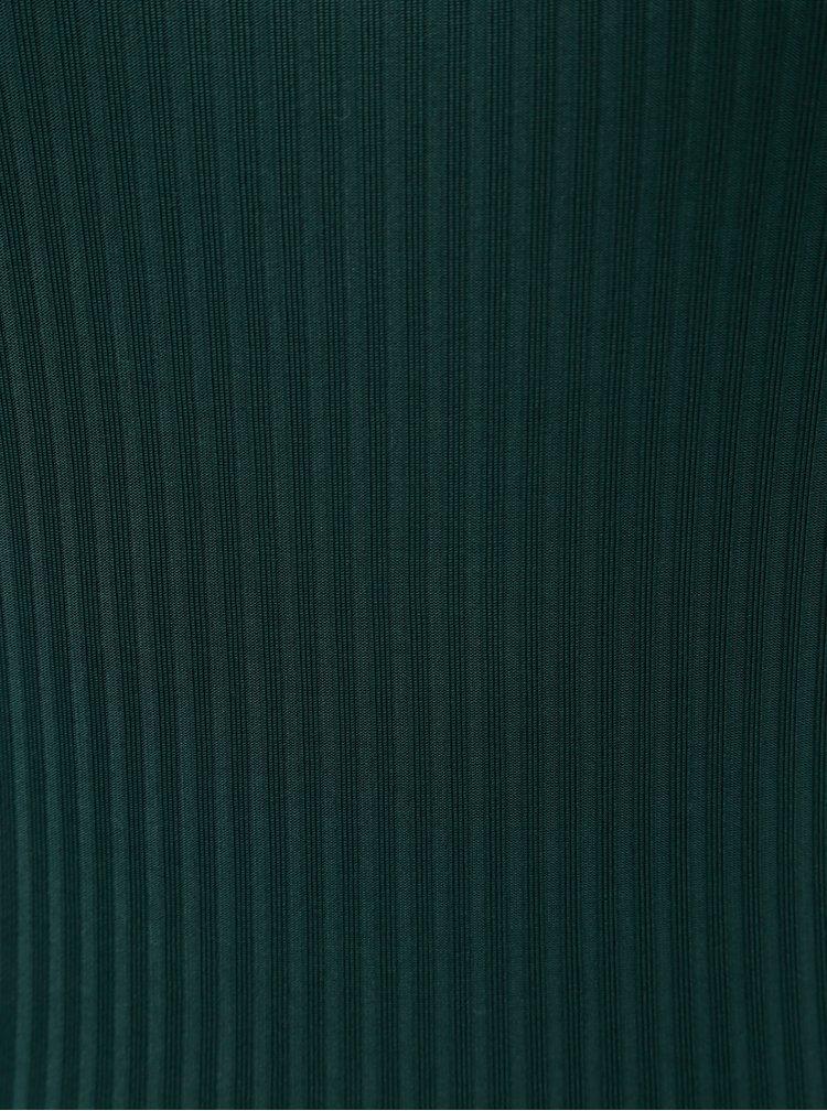Tmavě zelené pruhované body s krajkovými detaily ONLY Mila