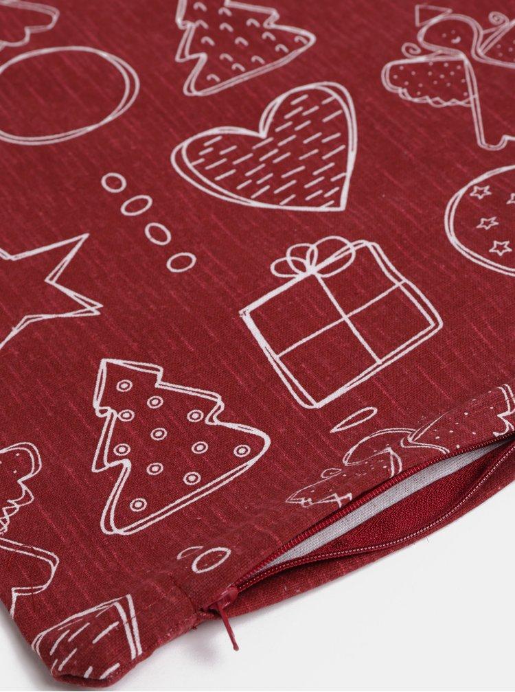 Vínový potah na polštář s vánočním motivem Dakls
