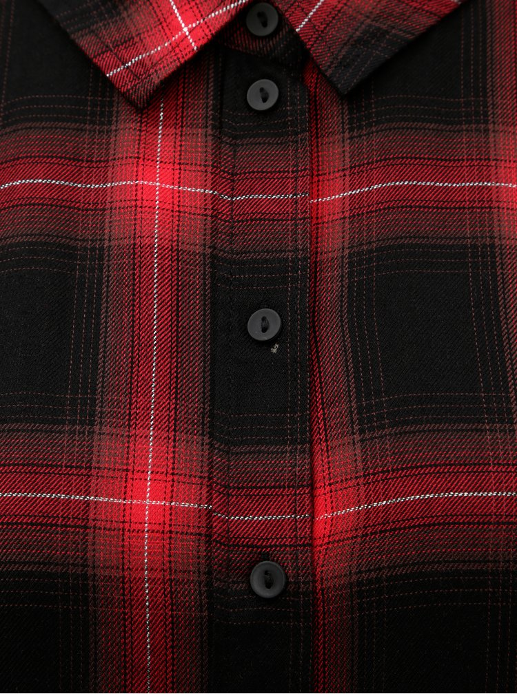 Camasa negru-rosu tartan cu fibre metalice Jacqueline de Yong Frans