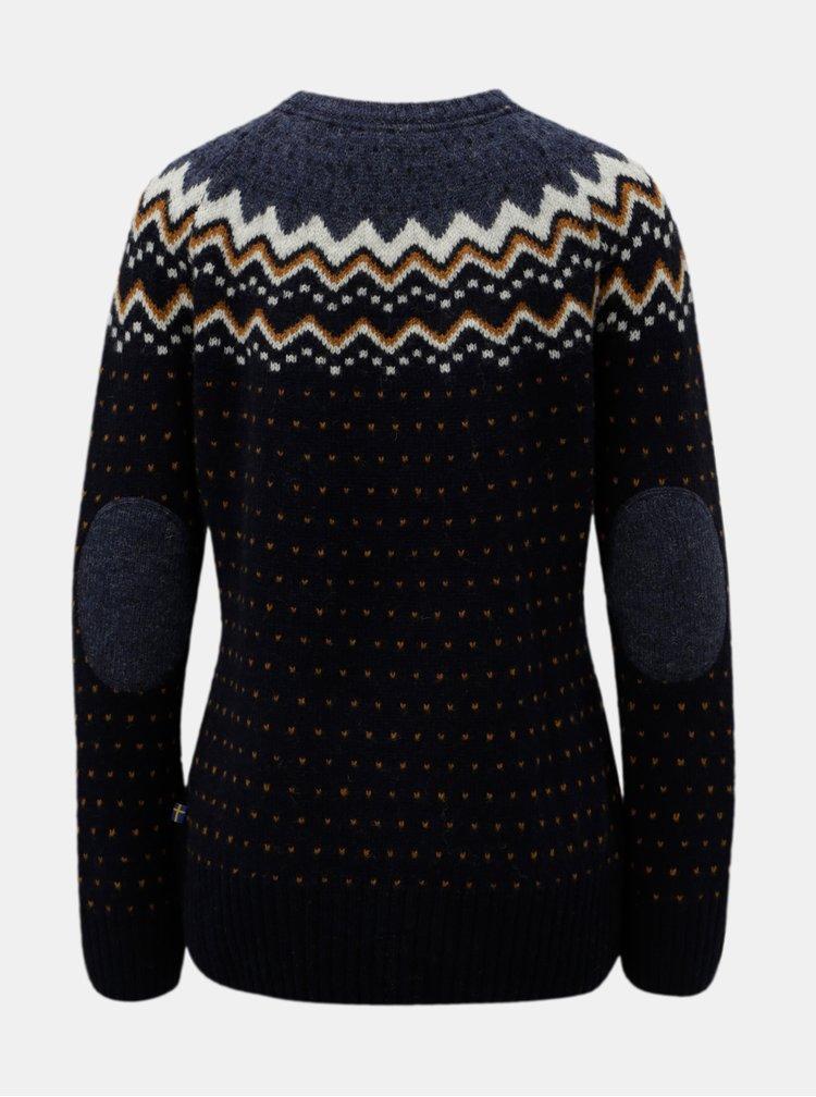 Pulover albastru inchis de dama din lana cu model Fjällräven Övik