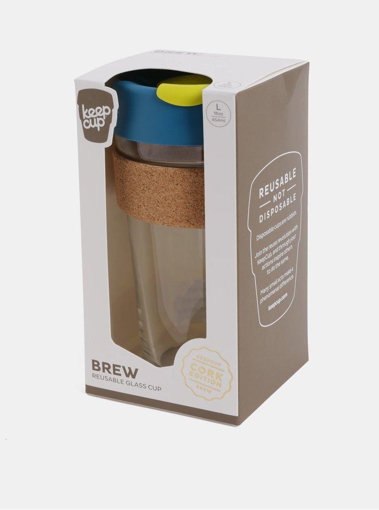 Petrolejový skleněný cestovní hrnek KeepCup Brew large 454 ml