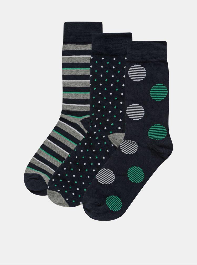 Set cadou de 3 perechi de sosete albastru si verde cu model Jack & Jones Dots