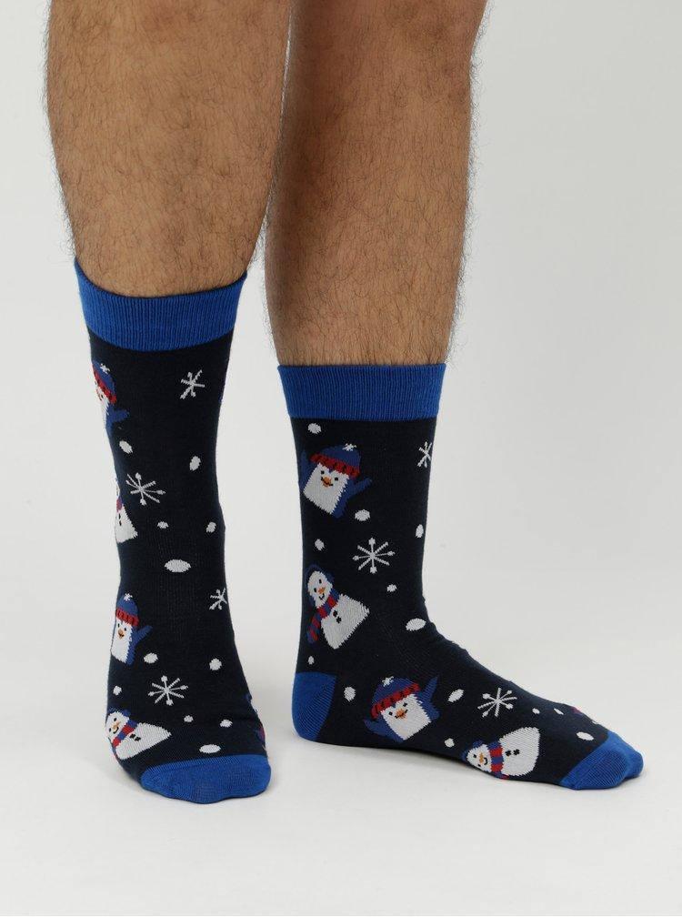 Sada čtyř párů ponožek s vánočním motivem v tmavě modré barvě  Jack & Jones Franki